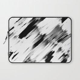 Modern Abstract Black White Brushstroke Art Laptop Sleeve