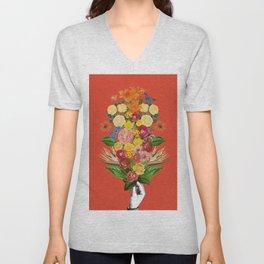 Botanical Red Unisex V-Neck