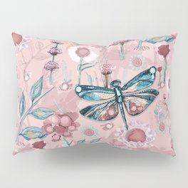 Rose Gold Dragonfly Garden | Pastel Pillow Sham