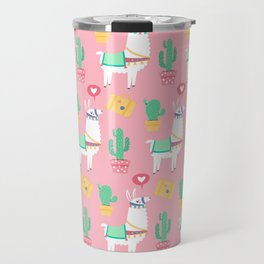 Cute Alpaca & Cactus Pattern Travel Mug