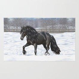 Friesian Horse Trotting In Snow Rug