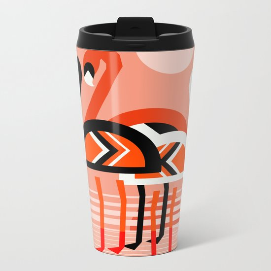 Posse - flamingo throwback nostalgia retro neon art print hipster trendy style minimal abstract geo Metal Travel Mug