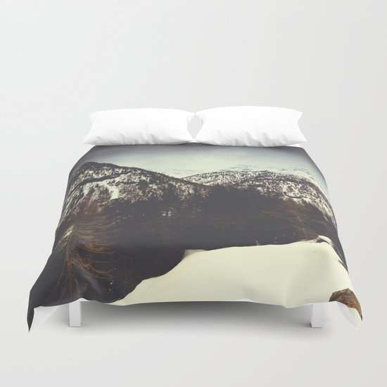 End of Winter in the mountains Duvet Cover