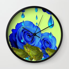 DECORATIVE BLUE SURREAL DRIPPING ROSES & GREEN FROGS Wall Clock