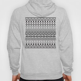 Aztec Influence Pattern Black on White Hoody