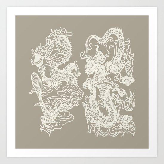 Gray Grey Alabaster Dragon Gate Art Print