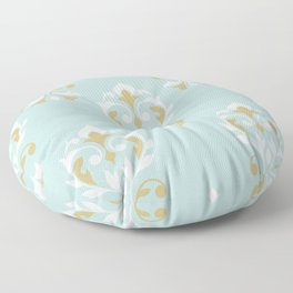 Heart Damask Ptn Gold Cream Blue Floor Pillow