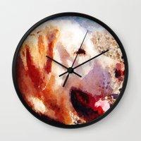 jake Wall Clocks featuring Jake by Vix Edwards - Fugly Manor Art