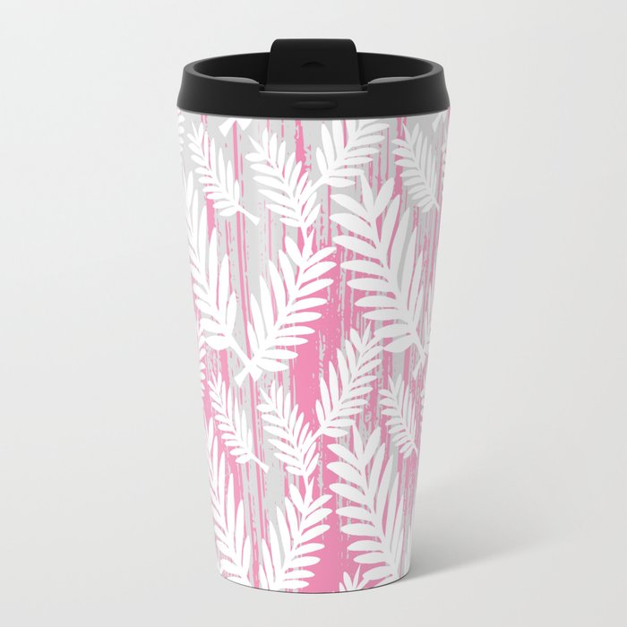 Fuchsia modern watercolor brushstrokes white floral Travel Mug