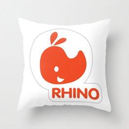emblem of a red rhinoceros Throw Pillow
