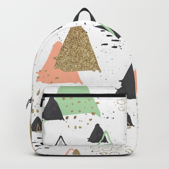 Triangles & textures watercolor Backpack
