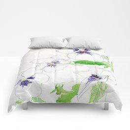 Snow Pansies Comforters