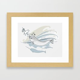 The Friendly Narwhal Framed Art Print