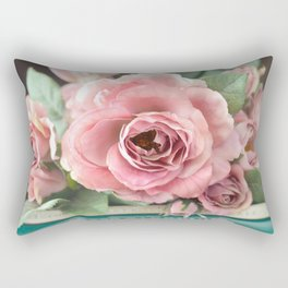 Roses Pink Peach Romantic Rose Flowers Gardening Decor Rectangular Pillow