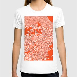 Dahlia Lino Cut, Fiery Red T-shirt