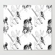 woman wolf pattern Canvas Print