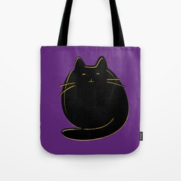 Cute black and gold cat on purple Tote Bag
