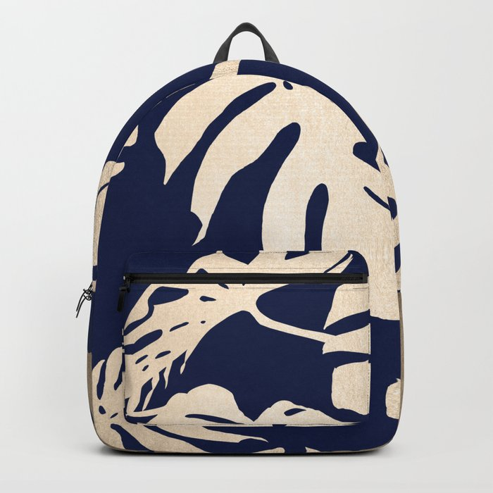 Simply Palm Leaves in White Gold Sands on Nautical Navy Backpack
