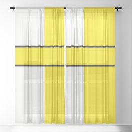 Team colors 6....Yellow,white Sheer Curtain