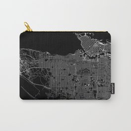 Vancouver Black Map Carry-All Pouch