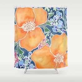 Masked Flora Collection Poppies Shower Curtain