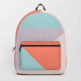 Geometric orange teal lavender color block pattern Backpack