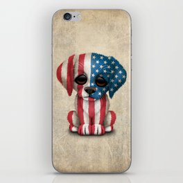 Cute Puppy Dog with flag of The United States iPhone Skin