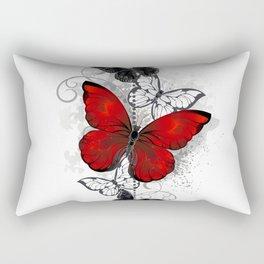 Red and Black Butterflies Rectangular Pillow