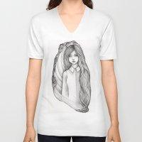 flora V-neck T-shirts featuring Flora by Eszter Mezei