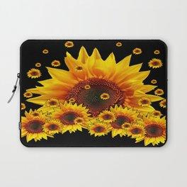 Raining Yellow Sunflowers Decorative Black Pattern  Laptop Sleeve