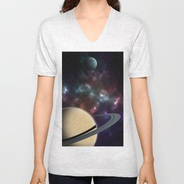 Ringed planet featuring a moon Unisex V-Neck