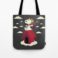 snoopy Tote Bags featuring Snoopy - Red Baron by Ricardo A.
