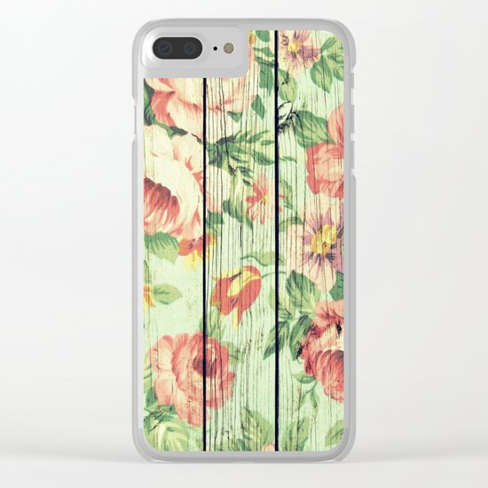 Flowers on Wood 05 Clear iPhone Case