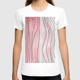 Pink Pastel Abstract Aerial Watercolor Topography T-shirt