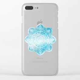 Blue Sky Mandala Clear iPhone Case