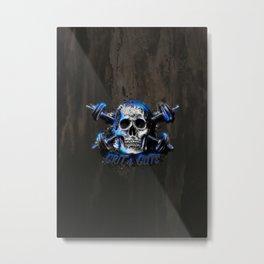 Grit and Guts Skull Neon Blue Metal Print