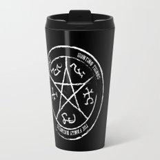 Supernatural's Devil's Trap (white on black) Travel Mug