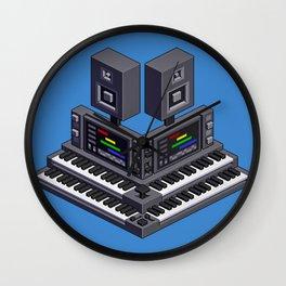 Electronic music altar — isometric pixel art Wall Clock