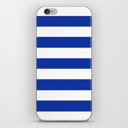 Egyptian blue - solid color - white stripes pattern iPhone Skin