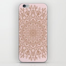 BEIGE GOLD GLITTER MANDALA iPhone Skin