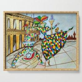 Arlecchino and Colombina. Carnival of Venice. Serving Tray