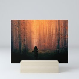 Forest at night with trees in black woods Mini Art Print