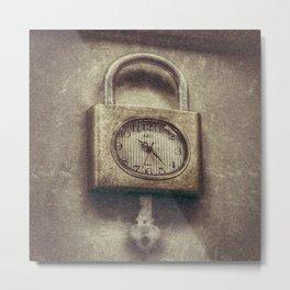 Tick Tock Lock Clock Metal Print