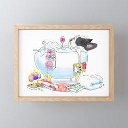 French Bulldog in the Tub - black and white pied Framed Mini Art Print