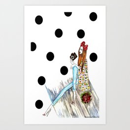 Dots & bow Art Print