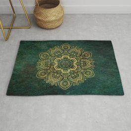 Golden Flower Mandala on Dark Green Rug