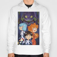 evangelion Hoodies featuring Evangelion by Sara Michieli