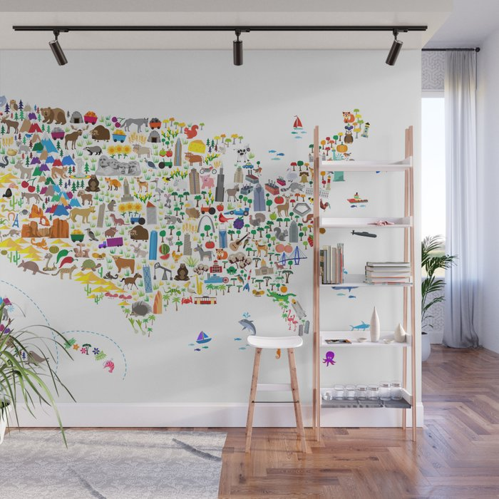 Animal Map of United States for children and kids Wall Mural by artpause