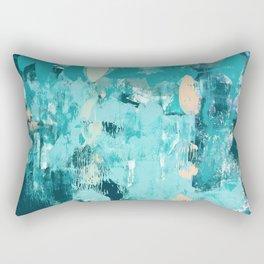 020: a vibrant abstract design in teal and peach by Alyssa Hamilton Art  Rectangular Pillow