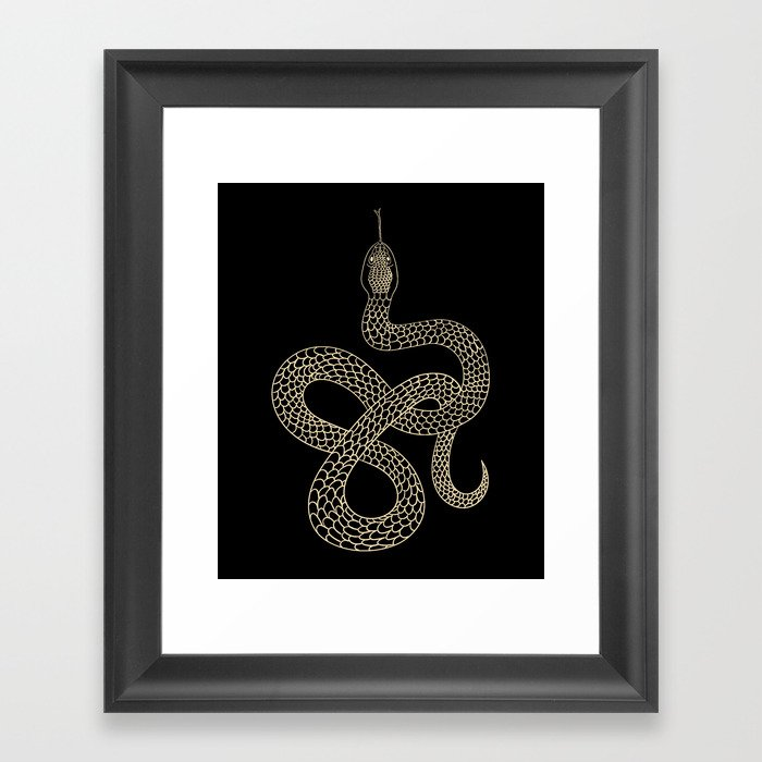 Vintage line snake Gerahmter Kunstdruck